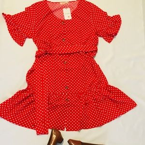 Beautiful red polka dot dress/ New with tags